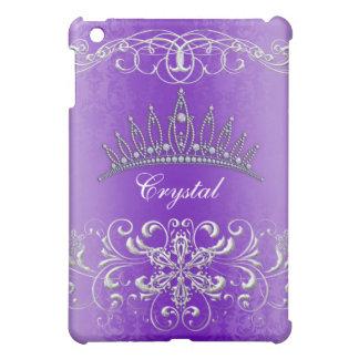 紫色のダマスク織のプリンセスのティアラの名前入りな箱 iPad MINIケース
