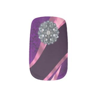 紫色のダマスク織のラインストーンパターン ネイルアート