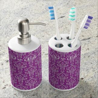 紫色のダマスク織の浴室セット バスセット