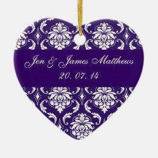 紫色のダマスク織の結婚式はオーナメント感謝していしています セラミックオーナメント