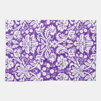 紫色のダマスク織の花の台所布タオル キッチンタオル
