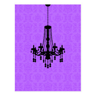 紫色のダマスク織の郵便はがきのシャンデリア ポストカード