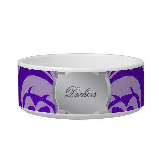 紫色のダマスク織の銀のプラクの名前のペットボウル ボウル
