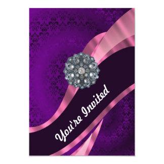 紫色のダマスク織及び水晶 カード