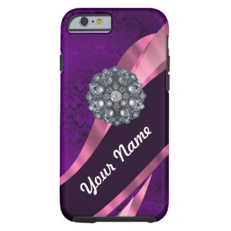 紫色のダマスク織及び水晶 ケース