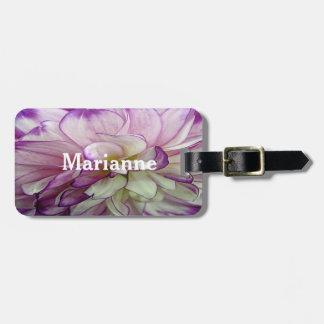 紫色のダリアのデザインの荷物のラベル ラゲッジタグ