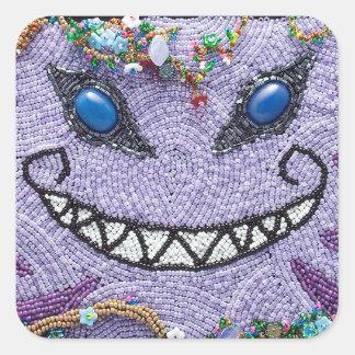 紫色のチェシャー猫のステッカー スクエアシール