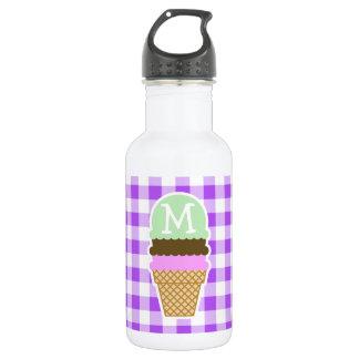 紫色のチェック模様のギンガム; アイスクリームコーン ウォーターボトル
