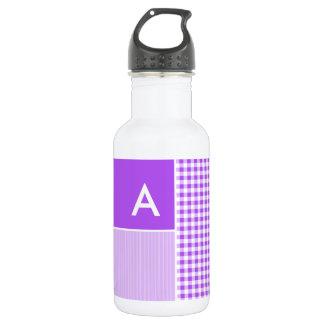 紫色のチェック模様のギンガム ウォーターボトル