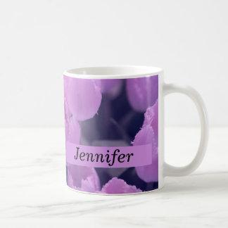 紫色のチューリップの新学期及び寮の要素 コーヒーマグカップ