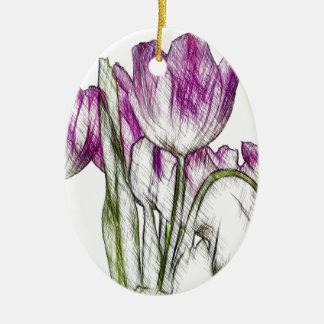 紫色のチューリップ 陶器製卵型オーナメント