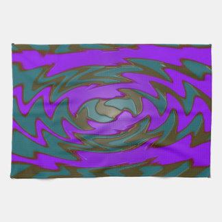 紫色のティール(緑がかった色)の抽象美術 キッチンタオル