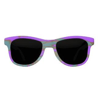 紫色のティール(緑がかった色)の抽象芸術 サングラス