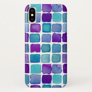 紫色のティール(緑がかった色)の水彩画はiPhoneの場合を平方します iPhone X ケース