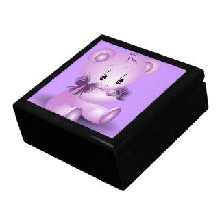 紫色のテディー・ベアはとの上がりました ギフトボックス