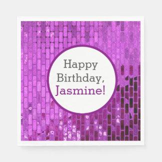 紫色のディスコの球のタイルのパーティー スタンダードランチョンナプキン