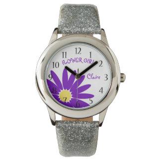 紫色のデイジーのフラワー・ガール 腕時計