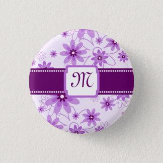 紫色のデイジーのモノグラム 缶バッジ