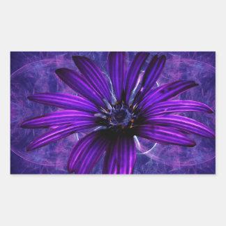 紫色のデイジーの情熱 長方形シール