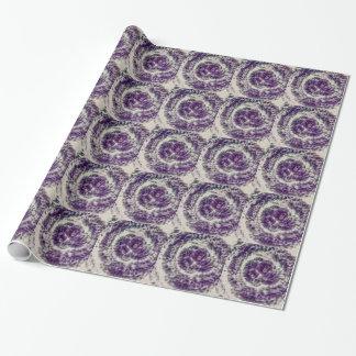 紫色のデイジーの渦巻 ラッピングペーパー