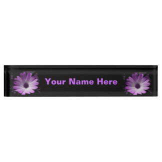 紫色のデイジーの花のカスタムの机用ネームプレート デスクネームプレート