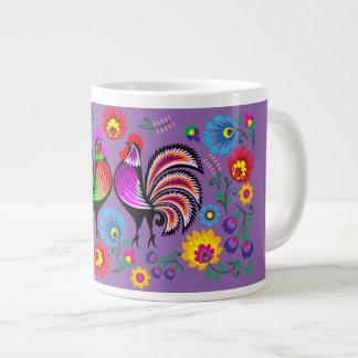 紫色のデザイン2 ジャンボコーヒーマグカップ