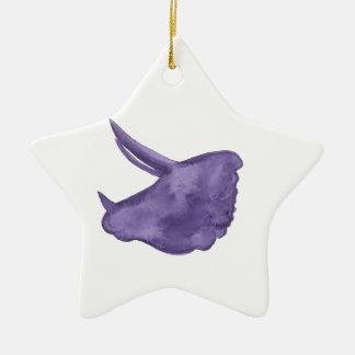 紫色のトリケラトプスのシルエット セラミックオーナメント
