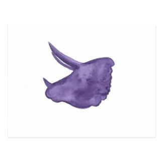 紫色のトリケラトプスのシルエット ポストカード