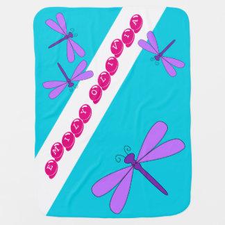 紫色のトンボのベビーブランケット ベビー ブランケット