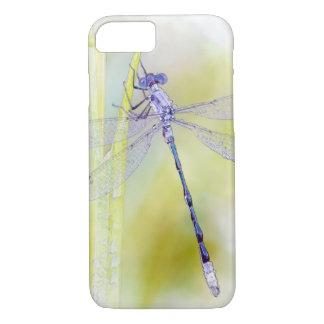 紫色のトンボの水彩画の絵画 iPhone 7ケース