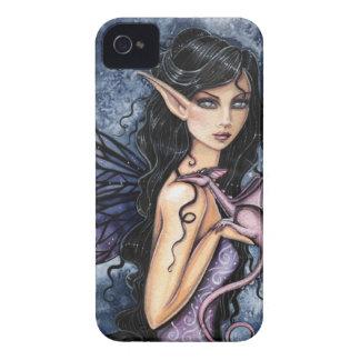 紫色のドラゴンの紫色の妖精のファンタジーの芸術 Case-Mate iPhone 4 ケース