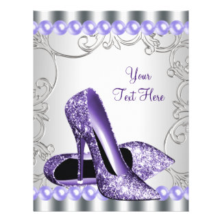 紫色のハイヒールの靴の真珠の渦巻 チラシ