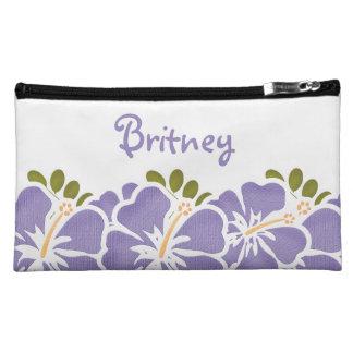 紫色のハイビスカスの化粧品のバッグ コスメティックバッグ