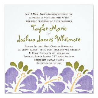 紫色のハイビスカスの結婚式招待状 カード