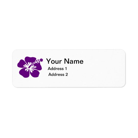 紫色のハイビスカスの花の住所シール ラベル