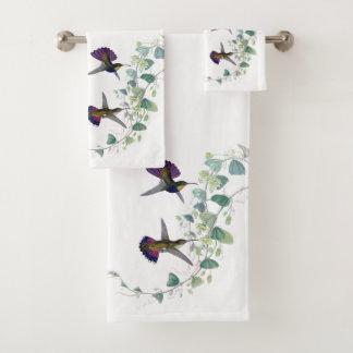 紫色のハチドリの鳥の花のBathタオルセット バスタオルセット