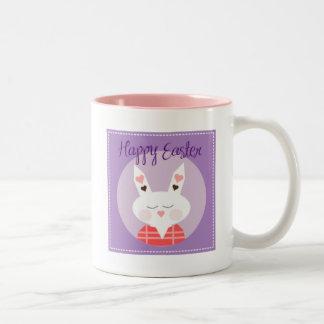 紫色のハッピーイースターのバニー ツートーンマグカップ