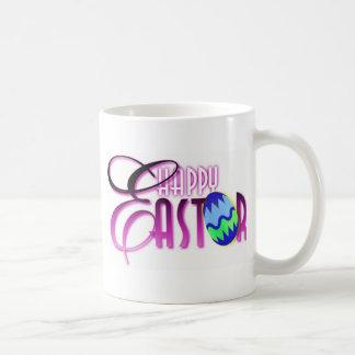 紫色のハッピーイースターの卵 コーヒーマグカップ