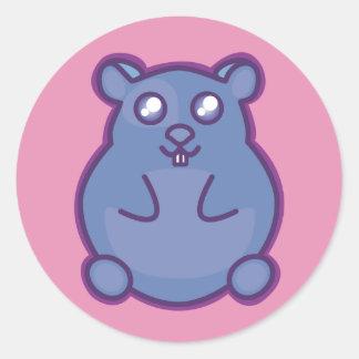 紫色のハムスター ラウンドシール