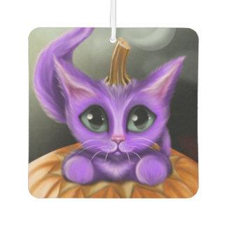 紫色のハロウィンの子猫の正方形 カーエアーフレッシュナー