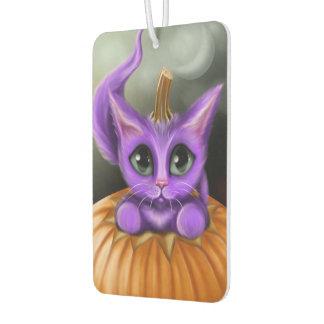 紫色のハロウィンの子猫の長方形 カーエアーフレッシュナー