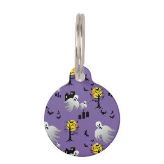 紫色のハロウィンの満月の幽霊 ペット ネームタグ