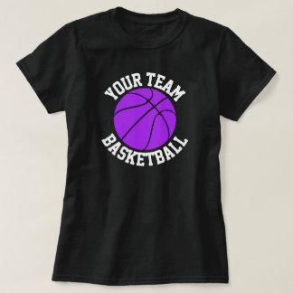 紫色のバスケットボールチーム、プレーヤー及びジャージー数ティー Tシャツ