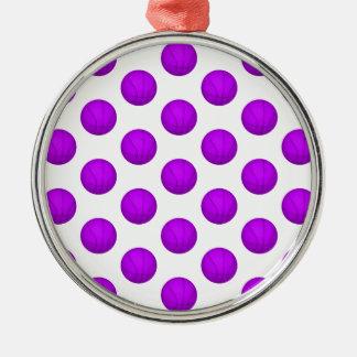 紫色のバスケットボールパターン メタルオーナメント