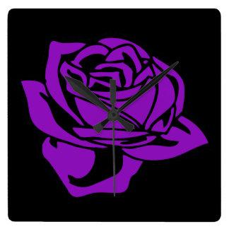 紫色のバラおよび黒 スクエア壁時計
