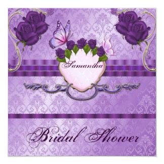 紫色のバラのダマスク織のブライダルシャワーの招待状 13.3 スクエアインビテーションカード