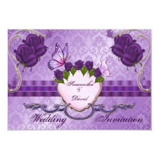 紫色のバラのダマスク織の結婚式招待状カード 8.9 X 12.7 インビテーションカード