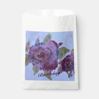紫色のバラの水彩画の紙の好意のバッグ フェイバーバッグ