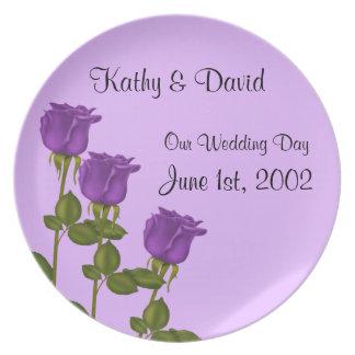 紫色のバラの結婚 ディナー皿