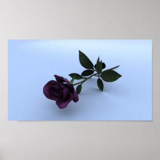 紫色のバラ(薄い灰色の基盤) ポスター